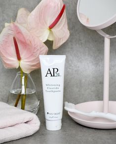 AP Whitening Fluoride Toothpaste lightens teeth without peroxide while preventing cavities and plaque formation. This gentle, vanilla mint formula freshens breath and provides a clean, just-brushed feeling that lasts all day. Ap 24 Whitening Toothpaste, Whitening Fluoride Toothpaste, Best Teeth Whitening, Whitening Kit, Nu Skin, Anti Aging Skin Care, At Least, Vanilla, Mint