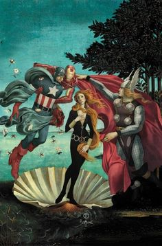 """""""Birth of the Black Widow"""" - with apologies to Botticelli."""