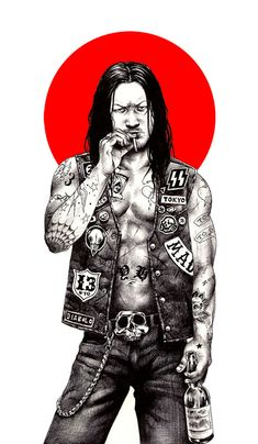 Amazing illustrations from Shohei Otomo aka Hakuchi, japanese artist. In his illustrations, Otomo, adds the taste for the traditional japanese art with manga Japanese Pop Art, Japanese Artists, Japanese Punk, Art Pop, Illustration Au Crayon, Samurai, Character Art, Character Design, Mode Steampunk
