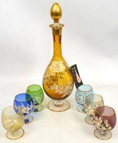 Vintage rainbow glass brandy set w/ 18k gold trim