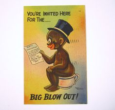 """Black Americana Postcard """"You're Invited For The Big Blow Out"""" 1940's Walt…"""