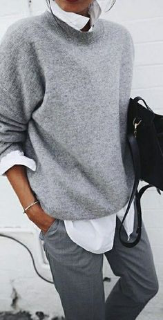 grey + white. knit. tailored trousers. fall street style.