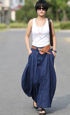 Fresco holgada falda Maxi falda lino verano moda por dresstore2000, encontrada en Etsy