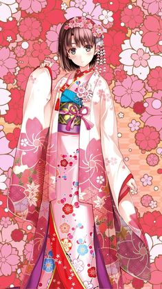 Art: Saekano - Megumi Katou in Kimono [Kurehito Misaki] Anime Girl Kimono, Anime Girl Cute, Beautiful Anime Girl, Kawaii Anime Girl, Anime Art Girl, Manga Girl, Anime Girls, Manga Anime, Moe Anime