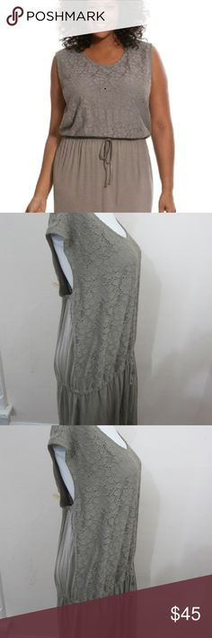 Cacique Tru to You Taupe LoungeDress 18/20 NEW Cacique Tru to You Taupe Beige Sleep Lounge Dress Loungewear NEW WITH TAGS Women's Plus Size 18/20 Drawstring Stretchy Waist Lace On The Top Half Front Rayon/Spandex Machine Wash Measurements:   bust 50 in.   waist (unstretched) 45 in.   hips 58 in.   length 42 in. Cacique Intimates & Sleepwear Pajamas