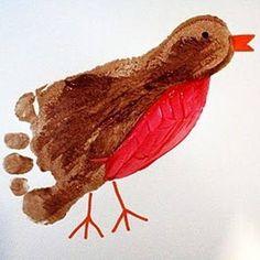Vogel - Fußabdruck #Kinder #Basteln #Füßchen