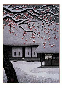 Sudden Snow woodblock print by Kazuyuki Ohtsu (Japanese) Japanese Illustration, Illustration Art, Art Occidental, Japanese Woodcut, Art Asiatique, Art Japonais, Japanese Painting, Japanese Prints, Japan Art