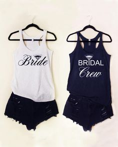 "Add some pizzazz to your bachelorette party with these classic ""Bride and Bridal Crew"" tanks that are a fun way to gather your girls together in celebration."