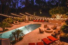 String Lights In The Backyard Over The Pool Will Help With