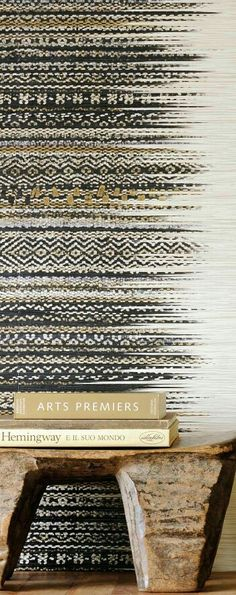 VULCANO wallpaper from Elitis. An embossed, wide, multicoloured raffia grasscloth, with an artisan naturalness. --could use an Aztec roller Safari Chic, Wallpaper Uk, Striped Wallpaper, Textures Patterns, Print Patterns, Pattern Print, African Interior, Weaving Patterns, Textiles