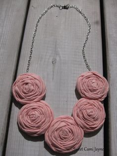 Fabric Necklace Light Pink Rosette Necklace by SweetCamiJayne, $25.00