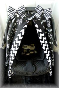 car seat canopy car seat cover NFL RAIDERS by JaydenandOlivia, $49.99