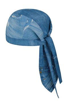 El gorro de algodón estampado modelo Jeans tipo corsario o bandana se ata  con una cinta 40753508639