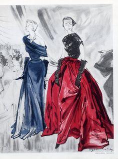Schiaparelli (Couture) & Molyneux 1949 Jacques Demachy, Evening Gown