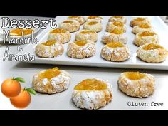 DESSERT MANDORLE E ARANCIA🍊 pasticcini facili e morbidissimi Gluten free🍊ALMOND AND ORANGE DESSERT - YouTube Gluten Free Pastry, Gluten Free Baking, Gluten Free Desserts, Cookie Desserts, Easy Desserts, Cookie Recipes, Biscotti Biscuits, Orange Dessert, Italian Pastries