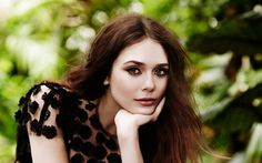 Celebrity, Hollywood actress and just beautiful girl with green eyes (face) - Elizabeth Olsen as Scarlet Witch