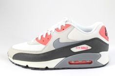 Iconic #Nike #Men's Air Max 90 White/Cool Grey/Red Running Shoes 537384 108