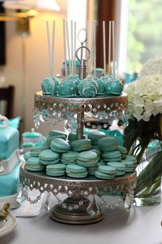 Tiffany Blue cake pops and macaroons!