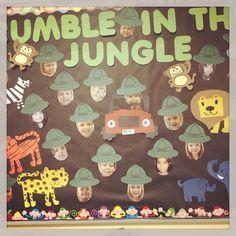 Jungle Theme ~~ Rumble in the jungle. Safari Bulletin Boards, Preschool Bulletin Boards, Preschool Classroom, Preschool Activities, Kindergarten, Jungle Activities, Preschool Jungle, Jungle Crafts, Jungle Theme Classroom
