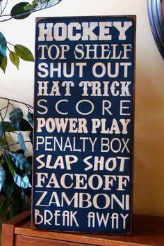 Hockey Typography/Word Art Wooden Sports Sign by kshopa on Etsy