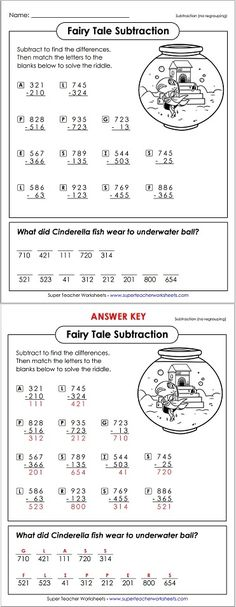 """""""What did Cinderella fish wear to the underwater ball?"""" Solve this math riddle by answering the subtraction problems on this fun worksheet!"""