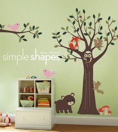Our forest friends wall decals will transform your nursery into a woodland forest with a full tree and separate branch and wonderfully cute animals! Tree with Forest Friends decal set, wall decal, tree wall decal, nursery wall decals Forest Friends Nursery, Forest Nursery, Woodland Nursery, Nursery Wall Stickers, Kids Wall Decals, Church Nursery, Nursery Room, Bedroom, Nursery Themes