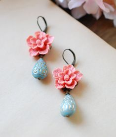 Dusky Pink Flower Powder Blue Teardrop Bead Dangle Earrings, Vintage Style Floral Dangle Earrings, Flower Jewelry, Bridesmaid Earrings