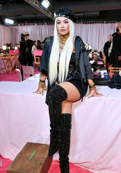 5466bcf976b Rita Ora rivals the Angels in sparkly thigh-high boots backstage at  Victoria's Secret