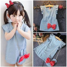 Department Name: Children Gender: Girls Dresses Length: Above Knee, Mini Silhouette: Straight Collar: O-neck Sleeve Length: Sleeveless Decoration: Bow Pattern Type: Solid Sleeve Style: Regular Style: Casual Material: Cotton,Polyester,Nylon Fit: Fits true to size, take your normal size Built-in Bra: No Model Number: Mouse