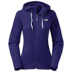 The North Face Women's Mezzaluna Hoodie ($56) ❤ liked on Polyvore featuring tops, hoodies, garnet purple, purple top, blue hoodie, blue top, the north face hoodie and hooded pullover