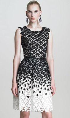 Black and White Sleeveless Leaf Lace Dress: