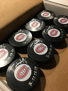 Yvon Lambert Montreal Canadians autographed hockey pucks! All authenticated! Stanley cup champions collectibles