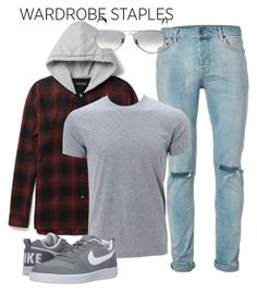 """Untitled #149"" by ghea-mareta ❤ liked on Polyvore featuring Topman, NIKE, Ray-Ban, men's fashion, menswear, plaid and WardrobeStaples"