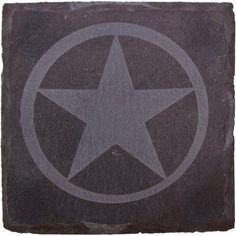 Thirstystone Slate Drink Coasters, Etched Western Star, Black