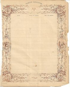 Blank Victorian Family Register ~ Just fill it in!
