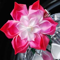 Pink Water Lily (Lotus) Comb or Clip.  Hopeful Moon.  Tsumami Kanzashi. (Made to order). $37.99, via Etsy.