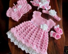 Baby dress set Crochet Pattern crochet baby dress shrug hat patterns baby girl dresses Crochet pattern for baby dress hat bolero shoes and headband 5 patterns in one size newborn to 12 months Crochet Toddler Dress, Baby Girl Crochet, Crochet Baby Clothes, Crochet For Kids, Free Crochet, Crochet Hats, Crochet Baby Dresses, Bolero Crochet, Crochet Outfits