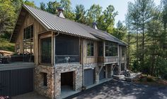 Rustic Modern Barn Home In Asheville NC This Uses Reclaimed Timbers And Stone