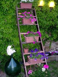 15 ideas on How To Reuse A Ladder As A Plant Stand