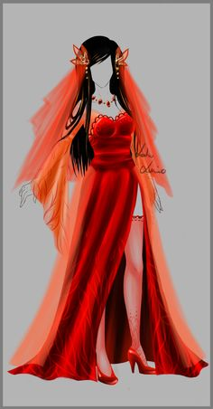 Outfit - Dalma - Wedding by LotusLumino on DeviantArt Hair piece Cartoon Outfits, Anime Outfits, Dress Outfits, Dress Up, Anime Dress, Fashion Art, Fashion Design, Drawing Clothes, Character Outfits