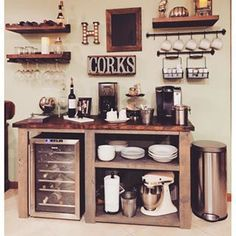 Here are 30 brilliant coffee station ideas for creating a little coffee corner that will help you decorate your home. See more ideas about Coffee corner kitchen, Home coffee bars and Kitchen bar decor, Rustic Coffee Bar. Wine And Coffee Bar, Coffee Bar Home, Coffee Bars, Dyi Coffee Bar, Home Wine Bar, Cappuccino Coffee, White Coffee, Coffee Set, Coffee Tables