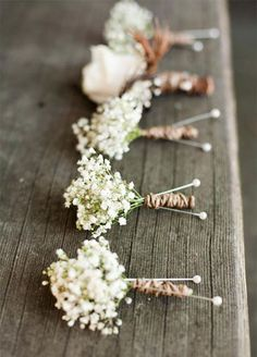Boutonniere: For a chic accent for the groom, look no further than a baby's breath boutonniere.