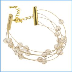 Illusion Tube Bracelet featuring @beadalon Gold Plated Wire and Slide Tube Clasp with @createyourstyle Swarovski crystals from Har-Man Importing