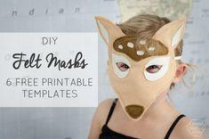 Six Free Printable Templates to make DIY Felt Animal Masks!
