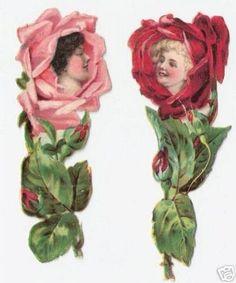 5 Victorian Scraps Rose Flower Ladies Die Cuts (10/07/2007) Rose Illustration, Vintage Illustration Art, Illustrations, Victorian Flowers, Vintage Flowers, Kitsch, Learn Art, Anime Dolls, Vintage Scrapbook