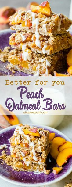 I want to say that these brown sugary, chewy Better for You Peach Oatmeal Bars are all about the hungry kids coming home, but truth is, I'm HANGRY too. I need a snack as much as the kids, but unlike the kids, I am always trying to be mindful of what I eat and these are a great solution! #peaches #eatseasonal #seasonal #produce #peach #peachbars #breakfast #recipe #healthy #healthyrecipe #healthybreakfast #healthydessert #healthysnack #familyfriendly #family Oatmeal Bars Healthy, Oatmeal Breakfast Bars, Eat Breakfast, Breakfast Recipes, Breakfast Bars Healthy, Banana Breakfast, Gourmet Recipes, Dessert Recipes, Cooking Recipes