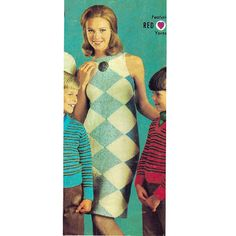Diamond Argyle Knit Shift Dress Pattern, S-M-L.  This dress is a vintage 1960s classic from Coats and Clark.  They report the dress to be easy to knit.  It features big bold diamonds, sleeveless with cut in shoulders and a back neck zipper.   The dress is sized small, medium and large, fitting a bust of 31 to 38 inches.