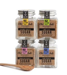 Sugar Trader Set - Coconut Sugar, Rum Sugar, Lime Slice & Jamaican Ginger by Old Salt Merchants on Scoutmob Shoppe Sugar Packaging, Bottle Packaging, Food Packaging, Brand Packaging, Packaging Design, Retro Packaging, Product Packaging, Packaging Ideas, How To Grill Steak