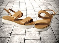 Leather sandals with white chunky block sole