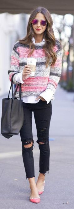 Pink Multi Knitted Sweater